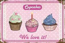 Blechschild - CUPCAKES - WE LOVE IT - SHABBY CHIC RETRO PINK  20x30 cm 23067