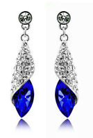 Crystal Jewellery Diamond Shine Rhinestone Dark Royal Blue Drop Earrings E506