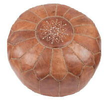 Moroccan Pouf Designer Luxury Leather Pouf Hand Stitched and Embroidered