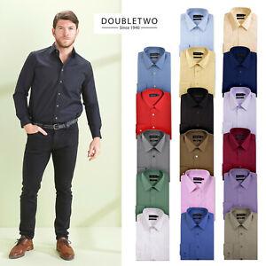 Mens Plain Shirts Big & Tall Long Sleeve Shirt Cotton Easy Care Formal Casual