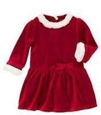 GIRLS 5T GYMBOREE SWEET TREAT WASHABLE WHITE FAUX FUR TRIM RED VELOUR DRESS BOW