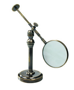 Hands Free Magnifier Magnifying Glass Burnished Bronze Stand 3x Reading Device