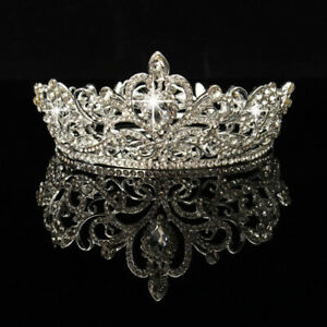 Queen Crown Tiara Wedding Bridal Party Prom Pageant Round Rhinestone Tiara US