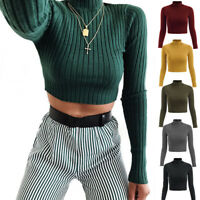 Fashion Knitted Crop Top Womens Long Sleeve Turtleneck Top Casual Solid T Shirt