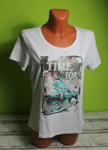 Cecilia T-Shirt M 40/42 Basic Shirt Kurzarmshirt Damenshirt weiß Damen bedruckt