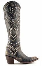 "Old Gringo Belinda 18"" Tall Black Distressed Studded Boots Size 9.5"