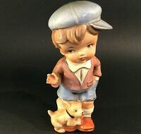 CALL OF THE WILD BOY & DOG FIGURINE VINTAGE 1950'S HAND DECORATED MARK EXCLUSIVE