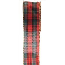 Tartan Ribbon Material or Poly Christmas Gift Wrapping Decoration Choose Style 50mm X 10 Yards P695