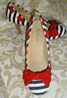 """MIA PATRIOTIC RED TRIM WHITE BLUE W/ BOW FABRIC MULES Pumps LOAFERS 3.75"""" Heel 8"""