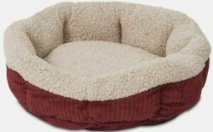 Aspen Pet Self-Warming Oval Pet Bed - Barn Red/Cream