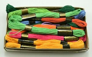 Vtg J & P Coats Misc Lot of 14 Skeins of Embroidery Six Strand Floss New