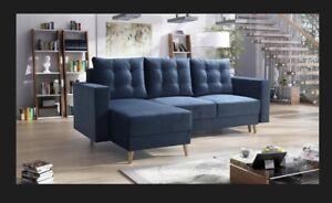 corner sofa bed living room left right DARK BLUE  FABRIC VELVET !