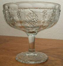 Eapg Indiana/Dunkirk Glass Darling Grape/Late Paneled Grape Compote Cr;1913