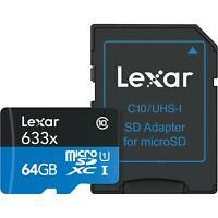 Lexar 64GB micro SD SDXC 633x Class 10 UHS-I U1 Memory Card with SD Adapter