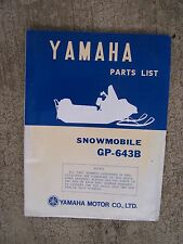 **1972 Yamaha GP-643B Snowmobile Illustrated Parts List MORE SNO-MO IN STORE  V