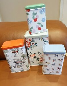 CATH KIDSTON set if 4 Storage boxes Tins please read shabby chic stanley