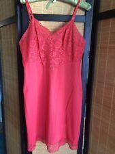 Vintage Vanity Fair Red Nylon Full Slip Sheer Lace Bodice Bust 40 Lingerie Sissy