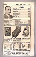 Arcade Pinball Games & Juke Box PRINT AD - 1946 ~Cleveland Coin Machine Exchange