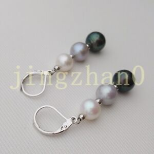 Perfect AAA South Sea Black White Gray Pearl Earrings 14k White Gold