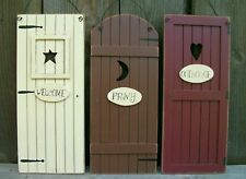 "Set 3 Primitive Country ""Outhouse"" Door Signs""Welcome,Privy""-Bathroom Wall Decor"