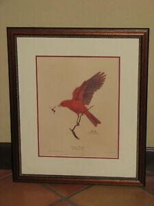 Vintage Ray Harm Summer Tanager Signed Framed Print, Plate IX