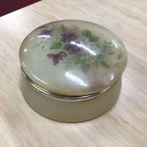 Alabaster Round Floral Italian Hinged Trinket Box #404