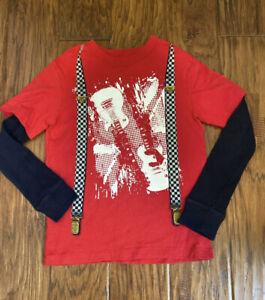 Gap Boys 6 7 Red Guitar Suspenders Black  L slv Thermal Shirt Cute
