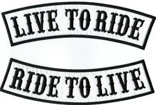 """LIVE TO RIDE, RIDE TO LIVE Rockers Jacket Patches Large Biker Motorcycle 12"""""""