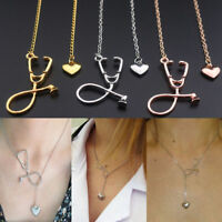 1X Heart And Stethoscope Pendant Necklace For Medical Doctor Nurse Charm Gifts