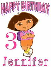 Personalized Custom DORA Birthday Party Gift T Shirt Name & Age On Shirt