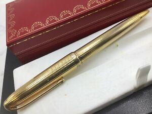 Louis Cartier Godron Pinstripe Gold-Plated Ballpoint Pen Pinstripe XL Size