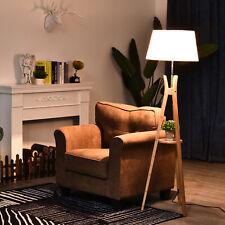 Floor Lamp Unique 40W w/ Pedal Switch Middle Shelf Tripod Base Fabric Shade