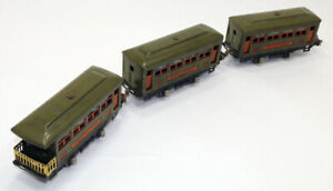 O  Lionel Pre War Lot of 3 Tinplate Pullman Observation Passenger Cars 529,530