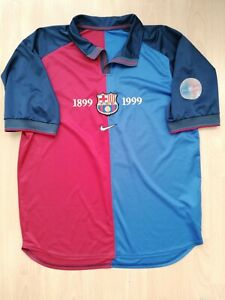 FC Barcelona Vintage Centenary Football Jersey M L 1999 2000 Camiseta Old RARE