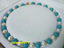 "18"" AAA turquoise SOUTH SEA NATURAL White PEARL NECKLACE 14K GOLD CLASP"