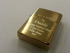 Personalised Engraved Genuine Zippo lighter, Brass. Great Men's Christmas Gift