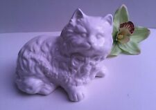 Vintage Medium 7 Inch White Longhaired Ceramic Persian Cat Wearing a Bow