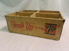 VINTAGE 7 UP FRESH FOUR SECTIONED CARDBOARD CRATE BOX