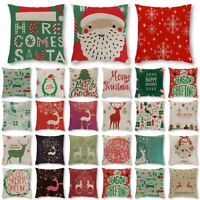 Weihnachten Santa Kissenhülle Baumwolle Kissenbezug Dekokissen Kopfkissenbezug