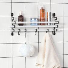 Sobuyestantería de pared con 5 ganchos Móviles- Baño blanco Frg173-w es