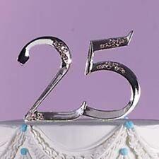 Anniversary 25th 25 Cake Topper Pick Wilton  Silver Rhinestones