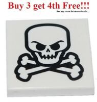 ☀️NEW Lego Pirate SKULL CROSSBONES White Skeleton Bone Printed 2x2 Minifig TILE