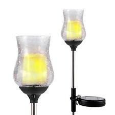 2 Solar LED Garden Light Stake Warm White Crackle Glass Candle light Yard