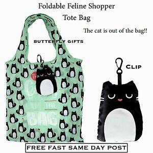 Cat Bag Feline Fine Fold Up Reusable Eco Friendly Shopping Bag Tote Shopper