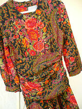 Vtg 80S 90S S M Romantic Red Ruched Floral Flower Roses Low Waist Dress Women