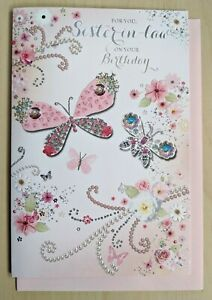 """Sister-in-law Birthday Card LARGE 9""""x6"""" - Female Ladies Womens Butterfly 28530"""