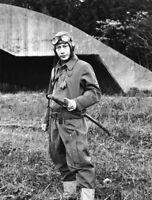 WW2 Photo WWII Japanese Pilot with Sword World War Two Japan IJN  / 2529
