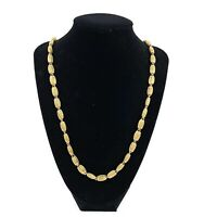 Vtg MONET Gold Tone Round Textured Chain Long Strand Necklace