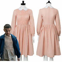 Stranger Things Eleven Millie Bobby Cosplay Costume Pink Dress Uniform