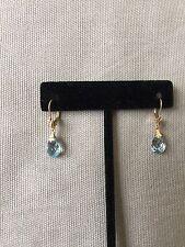 Swiss Blue Topaz Briolette Earrings 14K Yellow Gold